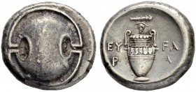 BOEOTIA. Thebes. Stater 363/338. Eu(w)ara, magistrate. Obv. Boeotian shield. Rev. Amphora; club and grape bunch on vine above, EY-FA/ P-A in two lines...