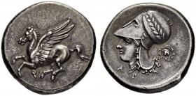 CORINTH. Stater 338/300. Obv. Pegasos flying to l., kappa beneath. Rev. Head of Athena to l. in Corinthian helmet bound with olive wreath. A - P below...