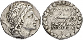 KINGS OF PONTUS. Mithradates VI, 120-63. Tetradrachm 90/89. Obv. Head with diadem to r. Rev. BAΣIΛEΩΣ - MIΘPAΔATOY - EYΠATOPOΣ Pegasus to l. Star over...