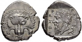 LYCIA. Mithrapata, c. 390-370. Stater c. 380. Obv. Facing lion scalp; triskeles below. Rev. Head of Mithrapata to. l., MITHRAPATA (in Lycian) around, ...
