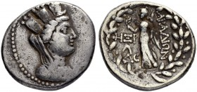 PHOENICIA. Aradus. Tetradrachm 92/91. Obv. Dated CY 168 (92/1 BC). Veiled, draped, and turreted bust of Tyche to r. Rev. Nike advancing l., holding wr...