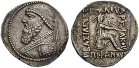 PARTHIAN EMPIRE. Mithradates II, 121-91. Tetradrachm 120/117, Seleucia. Obv. Bearded, cuirassed bust with diadem to l. Rev. ΒΑΣΙΛΕΩΣ - ΜΕΓΑΛΟΥ - ΑΡΣ -...