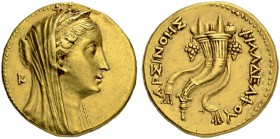 PTOLEMAIC KINGDOM. Ptolemy II, 285-246. Gold octodrachm (Mnaieion). In the name of Arsinoe II. Obv. Diademed and veiled head of the deified Arsinoe II...