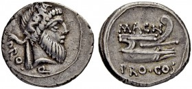 Cnaeus Pompeius Magnus. Denarius 49, Moving mint with Pompey. With Cn. Calpurnius Piso. (CN·PISO)·PRO - Q Bearded head of Numa Pompilius to r., wearin...