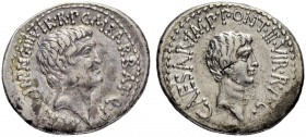 Marcus Antonius and Octavianus. Denarius 41, Military mint moving with Marcus Antonius. Obv. M ANT IMP AVG III VIR R P C M BARBAT Q P Bare head of Mar...