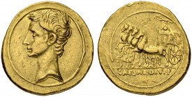 Augustus, 27 BC - 14 AD. Aureus 35/28, Pergamum, Nicomedia or Nicaea. Obv. Bare head of Octavianus to l. Rev. Trimphal quadriga l., surmounted by very...