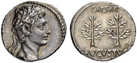 Augustus, 27 BC - 14 AD. Denarius 20/19, Spanish mint. Obv. Laureate head of Augustus, laureate, to r. Rev. CAESAR - AVGVSTVS Two upright laurel branc...