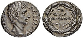 Augustus, 27 BC - 14 AD. Denarius 19, Colonia Patricia (Cordoba). CAESAR - AVGVSTVS Bare head to r. Rev. OB / CIVIS / SERVATOS within wreath. 3.81 g. ...
