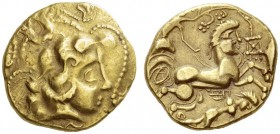 CELTIC, Northwest Gaul. Andecavi . 2nd century BC. Stater (Base gold, 19.5mm, 7.23 g 2). Celticized head of Apollo to right, with strings of pearls en...