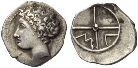 GAUL, Massalia. Circa 390/86-218/5 BC. Obol (Silver, 11mm, 0.75 g). Bare head of Apollo to left. Rev. Μ - Α in two quarters of four-spoked wheel. Maur...