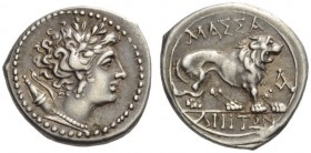 GAUL, Massalia. Circa 150 BC. Drachm (Silver, 16mm, 2.65 g 5). Head of Artemis to right, her hair in curls, wearing triple-pendant earring and pearl n...