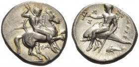 CALABRIA, Tarentum. Circa 315-302 BC. Stater (Silver, 20mm, 7.67 g 3). Nude rider on horse galloping to right, stabbing with spear held in his right h...