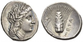 LUCANIA, Metapontum. Circa 290-280 BC. Didrachm or Nomos (Silver, 22mm, 7.58 g 8). Head of Demeter to right, wearing wreath of barley ears. Rev. ΜΕΤΑ ...