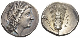 LUCANIA, Metapontum. Circa 290-280 BC. Didrachm or Nomos (Silver, 19mm, 7.71 g 8). Head of Demeter to right, wearing wreath of barley ears; in field t...