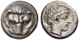 BRUTTIUM, Rhegion. Circa 415/0-387 BC. Tetradrachm (Silver, 22mm, 16.82 g 6). Lion's mask facing. Rev. ΡΗΓΙΝΟΝ Laureate head of Apollo to right, with ...