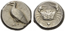 SICILY, Akragas. Circa 460-450/46 BC. Tetradrachm (Silver, 23mm, 17.37 g 12). ΑΚΡΑC - ΑΝΤΟC ( partially retrograde ) Eagle standing left with closed w...