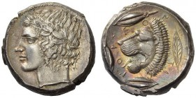 "SICILY, Leontini. Circa 430-425 BC. Tetradrachm (Silver, 24mm, 17.47 g 9), with a reverse die signed by the ""Maestro della foglia"". Laureate head of A..."