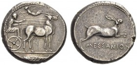 SICILY, Messana. Circa 428-426 BC. Tetradrachm (Silver, 26mm, 17.33 g 2). The Nymph Messana seated right, holding the reins in both hands, driving a b...