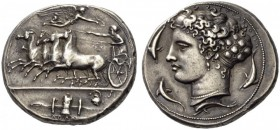 SICILY, Syracuse. Dionysios I, 405-367 BC. Dekadrachm (Silver, 37mm, 43.51 g 7), unsigned but by Kimon, c. 404-400. Quadriga galloping to left, driven...