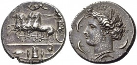 Sicily, Syracuse. Dionysios I, 405-367 BC. Dekadrachm (Silver, 35mm, 42.78 g 8), signed by Euainetos on the reverse, c. 400 BC. Charioteer, wearing lo...