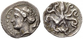 SICILY, Syracuse. Dionysios I, 405-367 BC. Litra (Silver, 10mm, 0.81 g 1), c. 405. ΣΥΡΑΚΟΣΙΩΝ Head of Arethusa to left, her hair bound up in a sakkos,...