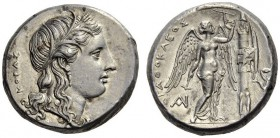 SICILY, Syracuse. Agathokles, 317-289 BC. Tetradrachm (Silver, 24mm, 16.85 g 10), 305-295. ΚΟΡΑΣ Head of Kore to right, wearing grain wreath and penda...