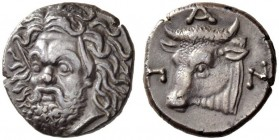 CIMMERIAN BOSPOROS, Pantikapaion. Circa 340-325 BC. Drachm (Silver, 15mm, 3.56 g 12). Bearded head of Pan to left, turned three-quarters facing to fro...