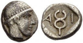 THRACE, Ainos. Circa 455/4-453/2 BC. Diobol (Silver, 9mm, 1.26 g 10). Head of Hermes wearing petasos to right. Rev. Α - Ι Kerykeion. Cf. May, Ainos 83...