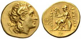 KINGS of THRACE. Lysimachos, 305-281 BC. Stater (Gold, 18mm, 8.55 g 7), Magnesia (?), c. 280s-260s. Head of Alexander the Great to right, with horn of...