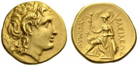 KINGS of THRACE. Lysimachos, 305-281 BC. Stater (Gold, 18mm, 8.52 g 5), uncertain mint in Asia Minor, c. 280s-250s. Diademed head of the deified Alexa...