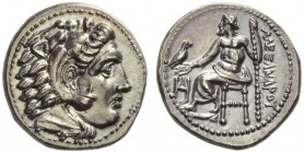 KINGS of MACEDON. Alexander III 'the Great', 336-323 BC. Drachm (Silver, 17mm, 4.30 g 1), Miletos, c. 325-323. Head of Herakles to right, wearing lion...