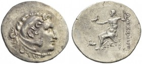 KINGS of MACEDON. Alexander III 'the Great', 336-323 BC. Tetradrachm (Silver, 33mm, 16.78 g 12), Alabanda, year 6 = 168/7 BC. Head of Herakles in lion...