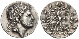 KINGS of MACEDON. Perseus, 179-168 BC. Tetradrachm (Silver, 29mm, 16.83 g 12), Pella or Amphipolis, c. 173-171. Diademed head of Perseus to right. Rev...