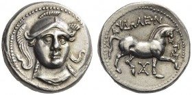 KINGS of PAEONIA. Audoleon, 315-286 BC. Tetradrachm (Silver, 23mm, 12.58 g 10), Astibos or Damastion. Head of Athena facing, turned slightly to right,...