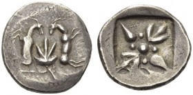 Island off Thessaly, Skyros. c. 485-480 BC. Didrachm (Silver, 23mm, 8.33 g). Two long horned and bearded goats, opposed vertically, back to back, with...