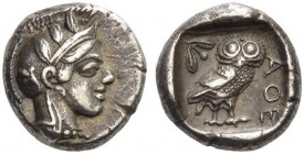 ATTICA, Athens. Circa 430s BC. Drachm (Silver, 14mm, 4.26 g 2). Head of Athena to right, wearing crested Attic helmet adorned with olive leaves and pa...