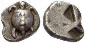 ISLANDS off ATTICA, Aegina. Circa 525/0-500 BC. Obol (Silver, 7mm, 1.01 g). Sea turtle with T-shaped arrangement of pellets on his shell. Rev. Incuse ...