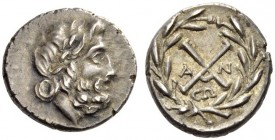 ACHAIA, Achaian League. Antigoneia (Mantineia) . Circa 188-180 BC. Hemidrachm (Silver, 14mm, 2.47 g 9). Laureate head of Zeus to right. Rev. ΑΧ (monog...