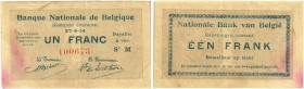 BELGIEN. Comptes Courants. 1 Franc 1914, 27 August. BB 1/1. Pick 81. Flecken / Stains. III+ / Good very fine.
