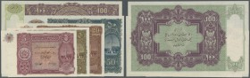Afghanistan: set of 5 notes containing 5, 10, 20, 50 and 100 Afghanis ND P. 16-20 only printed with prefix and without serial number, remainder, the f...