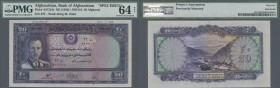 Afghanistan: 20 Afghanis ND(1939) Specimen P. 24s, key note of this series, PMG graded 64 Choice UNC Net.
