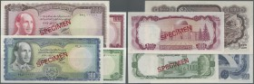 Afghanistan: set of 4 Specimen notes containing 50, 100, 500 and 1000 Afghanis P. 43s-46s, the first three in UNC, the last one in aUNC. (4 pcs)