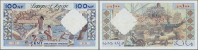 Algeria: 100 Nouveaux Francs 1959 P. 121a, used, probably pressed, pinholes at upper left but still strongness in paper and original colors, condition...