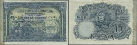 Angola: 10 Angolares 1926 P. 67, paper with original strongness and colors, a few pinholes at left, traces of former attachment at left border (residu...