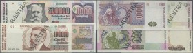 Argentina: set of 8 Specimen banknotes from 5 to 500.000 Australes P. 324s-329s, 337s, 338s, the 338s with pinholes as aUNC, all others condition: UNC...