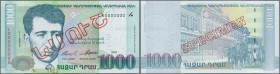 "Armenia: Central Bank of the Republic of Armenia 1000 Dram 2001 SPECIMEN, P.50s, with red overprint ""Specimen"" in Armenian language at center and Spec..."