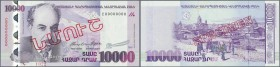 "Armenia: Central Bank of the Republic of Armenia 10.000 Dram 2003 SPECIMEN, P.52as, with red overprint ""Specimen"" in Armenian language at center and S..."