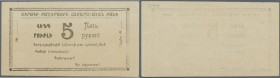 Armenia: Shirak Government Corporation Bank 5 Rubles 1920/21, P.S693, tiny dint at upper right corner, pencil writing on back, otherwise perfect. Cond...