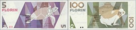 Aruba: official collectors book issued by the Central Bank of Aruba commemorating the first Banknote series of National design, containing 5, 10, 25, ...