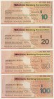"Australia: set of 4 Specimen Travellers Cheques 10, 20, 50 and 100 Dollars ND ""Westpac Banking Corporation"" on cardboard with zero numbers, condition:..."